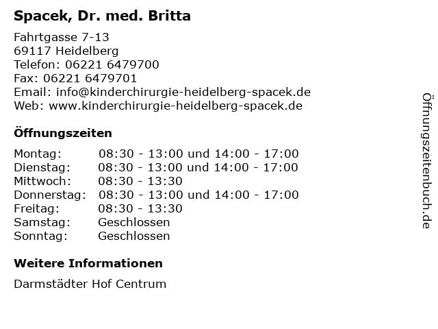 Spacek, Dr. med. Britta in Heidelberg: Adresse und Öffnungszeiten