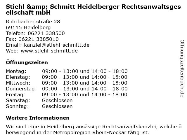 Stiehl & Schmitt Heidelberger Rechtsanwaltsgesellschaft mbH in Heidelberg: Adresse und Öffnungszeiten