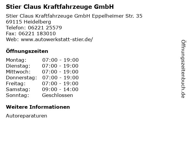 Stier Claus Kraftfahrzeuge GmbH in Heidelberg: Adresse und Öffnungszeiten