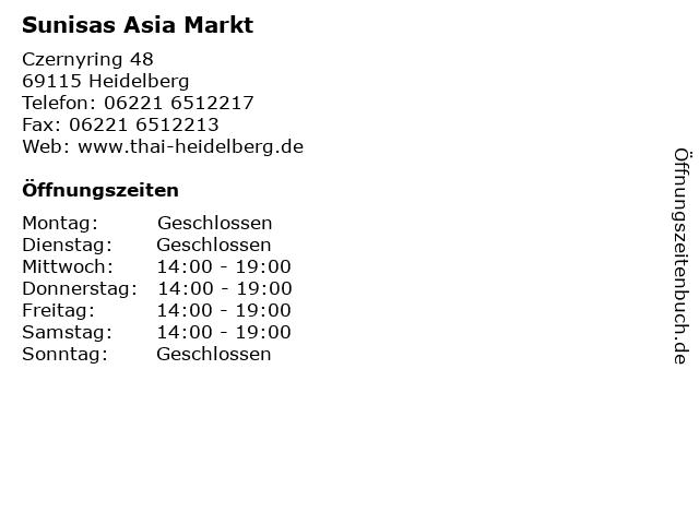 Sunisas Asia Markt in Heidelberg: Adresse und Öffnungszeiten