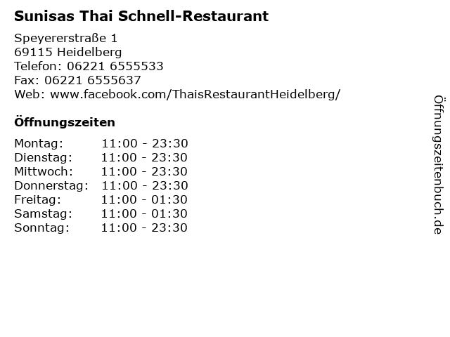 Sunisas Thai Schnell-Restaurant in Heidelberg: Adresse und Öffnungszeiten