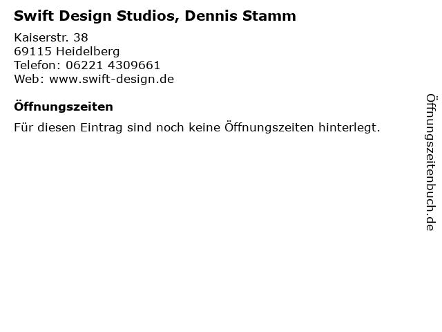 Swift Design Studios, Dennis Stamm in Heidelberg: Adresse und Öffnungszeiten