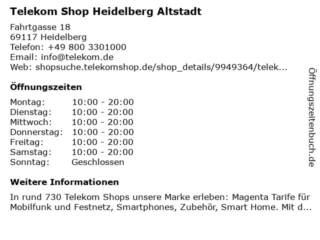 Telekom Shop Heidelberg Altstadt in Heidelberg: Adresse und Öffnungszeiten