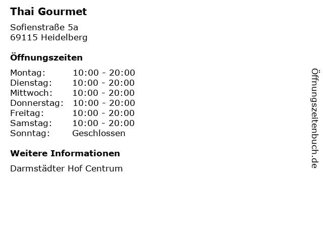 Thai Gourmet in Heidelberg: Adresse und Öffnungszeiten