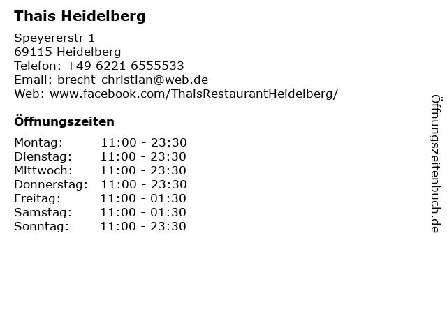 Thais Heidelberg in Heidelberg: Adresse und Öffnungszeiten