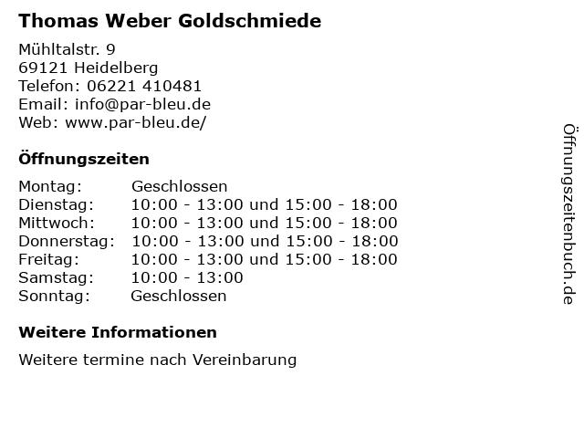 Thomas Weber Goldschmiede in Heidelberg: Adresse und Öffnungszeiten
