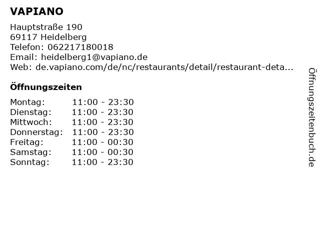 VAPIANO in Heidelberg: Adresse und Öffnungszeiten