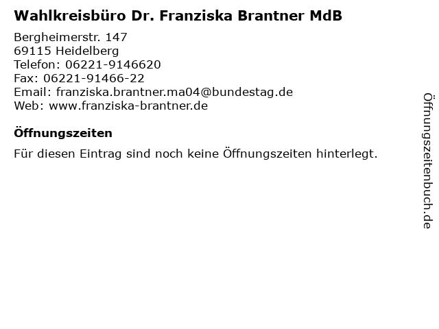 Wahlkreisbüro Dr. Franziska Brantner MdB in Heidelberg: Adresse und Öffnungszeiten