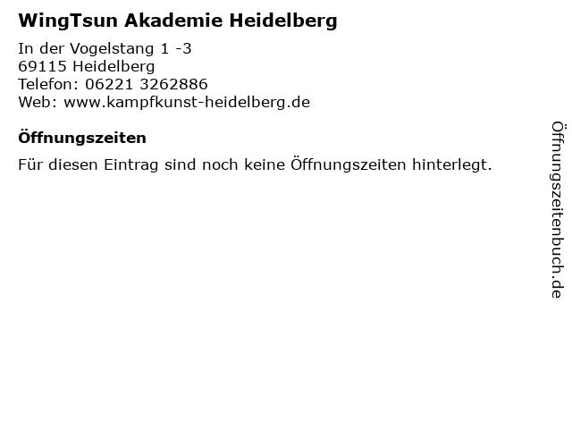WingTsun Akademie Heidelberg in Heidelberg: Adresse und Öffnungszeiten