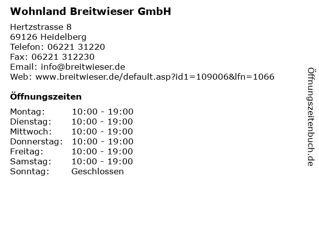 ᐅ öffnungszeiten Wohnland Breitwieser Gmbh Hertzstrasse 8 In