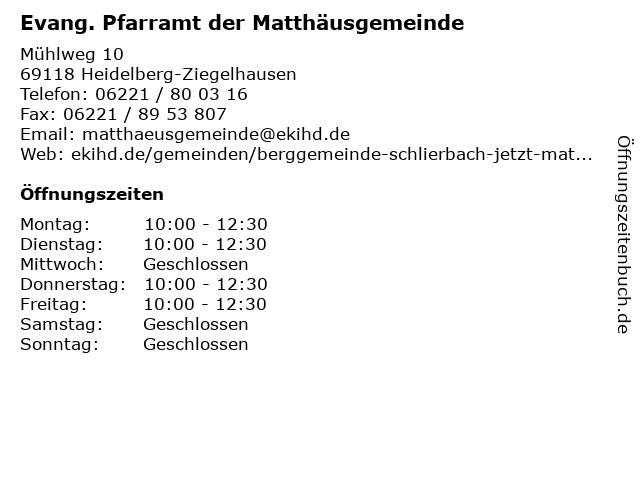 Evang. Pfarramt der Matthäusgemeinde in Heidelberg-Ziegelhausen: Adresse und Öffnungszeiten