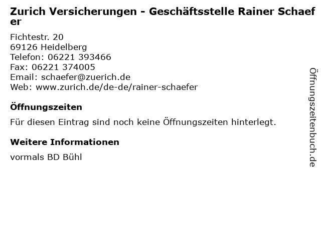 Zurich Versicherungen - Geschäftsstelle Rainer Schaefer in Heidelberg: Adresse und Öffnungszeiten