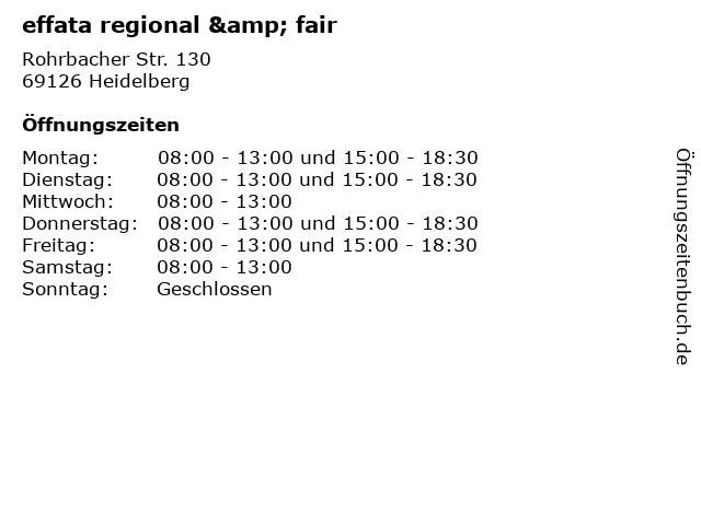 effata regional & fair in Heidelberg: Adresse und Öffnungszeiten