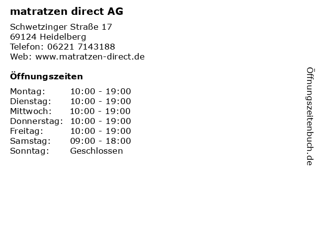 matratzen direct AG in Heidelberg: Adresse und Öffnungszeiten
