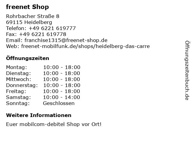 mobilcom-debitel in Heidelberg: Adresse und Öffnungszeiten