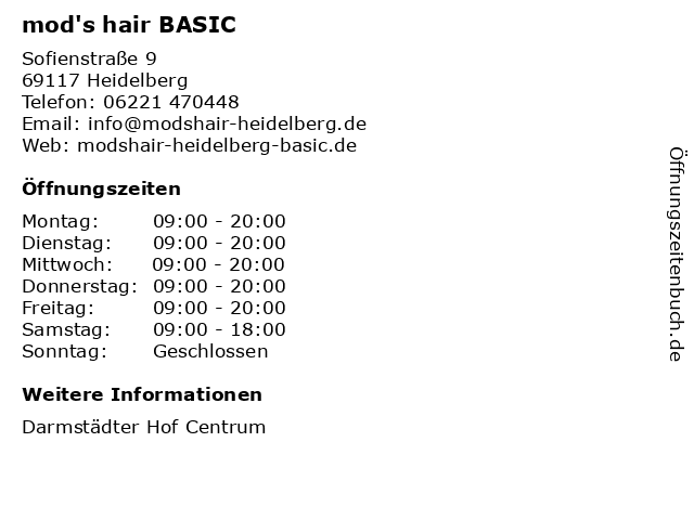 mod's hair BASIC in Heidelberg: Adresse und Öffnungszeiten