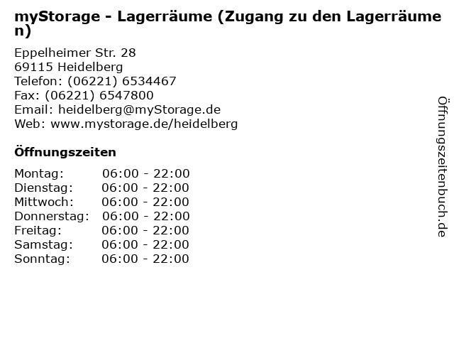 myStorage - Lagerräume (Zugang zu den Lagerräumen) in Heidelberg: Adresse und Öffnungszeiten