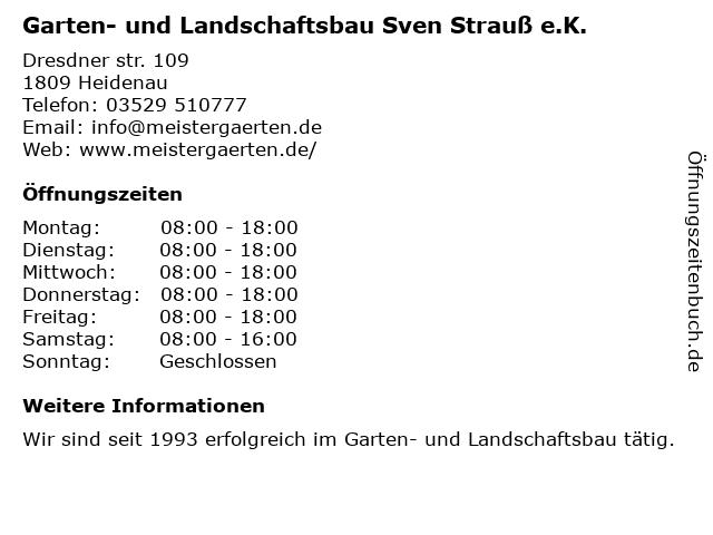 Garten- und Landschaftsbau Sven Strauß e.K. in Heidenau: Adresse und Öffnungszeiten