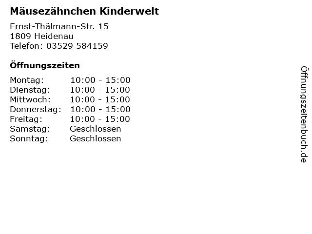 Mäusezähnchen Kinderwelt in Heidenau: Adresse und Öffnungszeiten