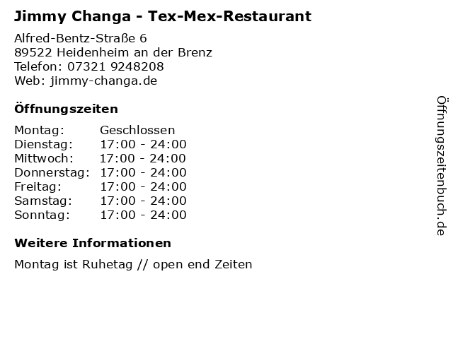 Jimmy Changa - Tex-Mex-Restaurant in Heidenheim an der Brenz: Adresse und Öffnungszeiten