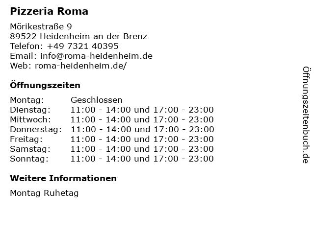 Pizzeria Roma in Heidenheim an der Brenz: Adresse und Öffnungszeiten