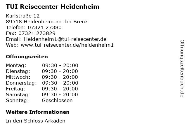 TUI ReiseCenter in Heidenheim: Adresse und Öffnungszeiten