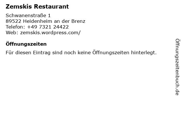Zemskis Restaurant in Heidenheim an der Brenz: Adresse und Öffnungszeiten