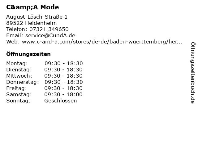 C&A Mode GmbH & Co. KG in Heidenheim: Adresse und Öffnungszeiten