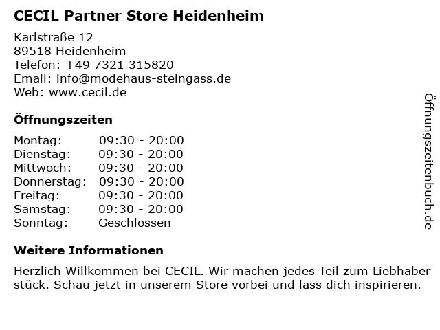 CECIL Partner Store Heidenheim in Heidenheim: Adresse und Öffnungszeiten