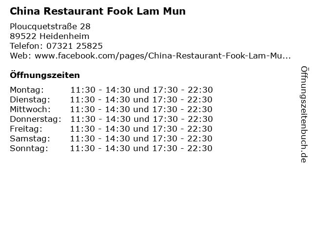 China Restaurant Fook Lam Mun in Heidenheim: Adresse und Öffnungszeiten