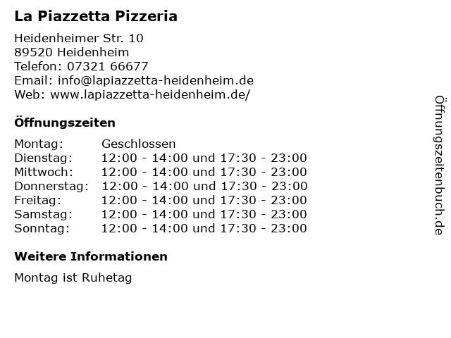 La Piazzetta Pizzeria in Heidenheim: Adresse und Öffnungszeiten