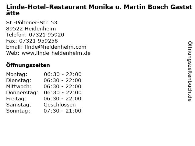 Linde-Hotel-Restaurant Monika u. Martin Bosch Gaststätte in Heidenheim: Adresse und Öffnungszeiten