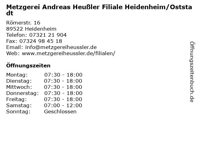 Metzgerei Andreas Heußler Filiale Heidenheim/Oststadt in Heidenheim: Adresse und Öffnungszeiten