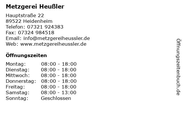 Metzgerei Heußler in Heidenheim: Adresse und Öffnungszeiten