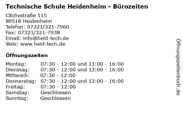 Technische Schule Heidenheim - Bürozeiten in Heidenheim: Adresse und Öffnungszeiten