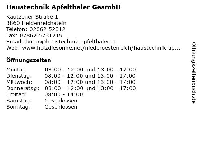 Haustechnik Apfelthaler GesmbH in Heidenreichstein: Adresse und Öffnungszeiten