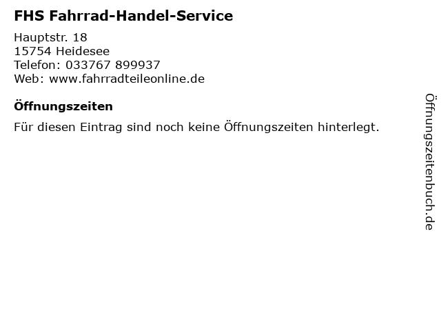 FHS Fahrrad-Handel-Service in Heidesee: Adresse und Öffnungszeiten