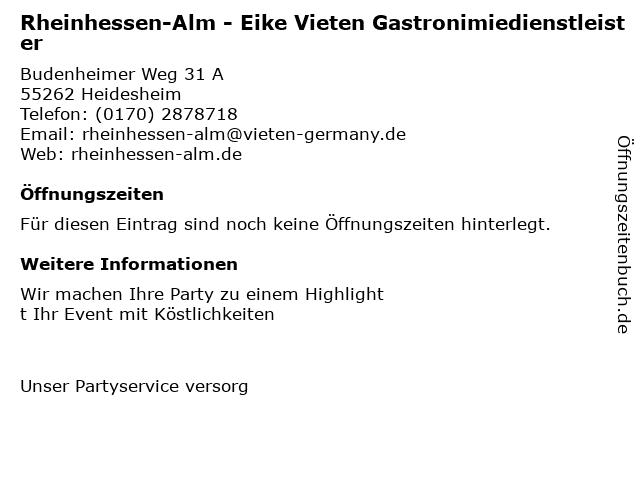 Rheinhessen-Alm - Eike Vieten Gastronimiedienstleister in Heidesheim: Adresse und Öffnungszeiten