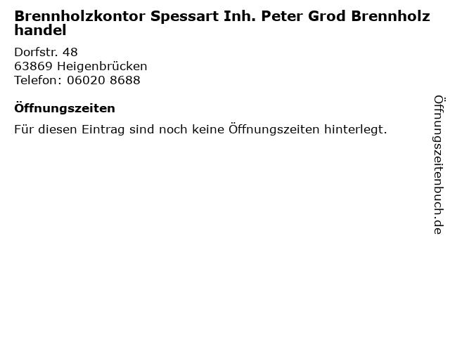 Brennholzkontor Spessart Inh. Peter Grod Brennholzhandel in Heigenbrücken: Adresse und Öffnungszeiten