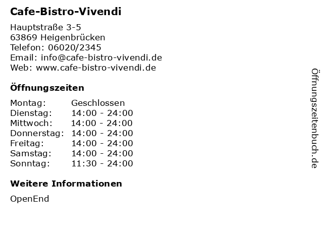 Cafe-Bistro-Vivendi in Heigenbrücken: Adresse und Öffnungszeiten