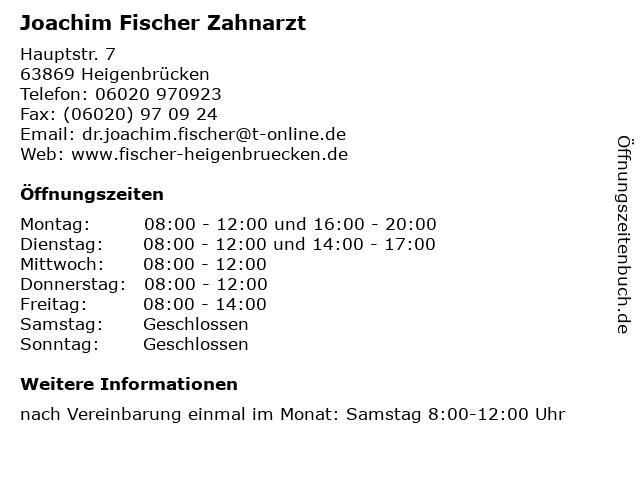 Joachim Fischer Zahnarzt in Heigenbrücken: Adresse und Öffnungszeiten