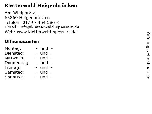 Kletterwald Heigenbrücken in Heigenbrücken: Adresse und Öffnungszeiten