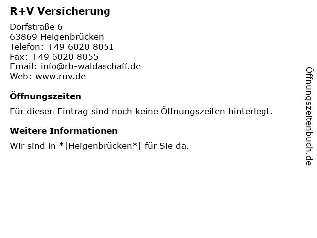 R+V Versicherung in Heigenbrücken: Adresse und Öffnungszeiten