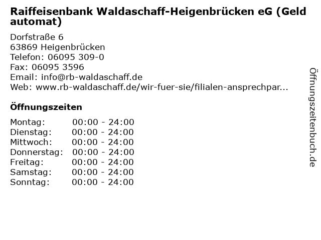 Raiffeisenbank Waldaschaff-Heigenbrücken eG (Geldautomat) in Heigenbrücken: Adresse und Öffnungszeiten