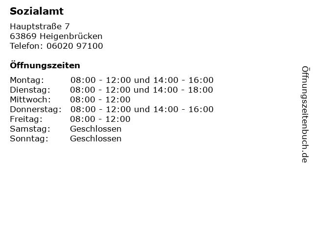 Sozialamt in Heigenbrücken: Adresse und Öffnungszeiten