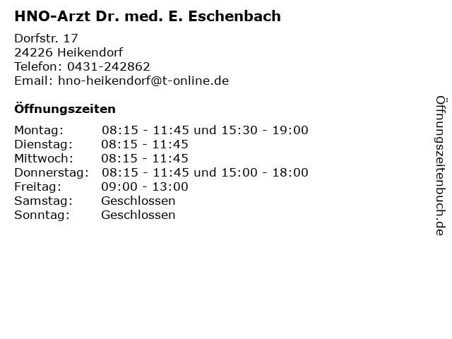HNO-Arzt Dr. med. E. Eschenbach in Heikendorf: Adresse und Öffnungszeiten