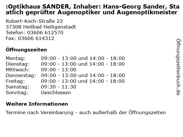 :Optikhaus SANDER, Inhaber: Hans-Georg Sander, Staatlich geprüfter Augenoptiker und Augenoptikmeister in Heilbad Heiligenstadt: Adresse und Öffnungszeiten