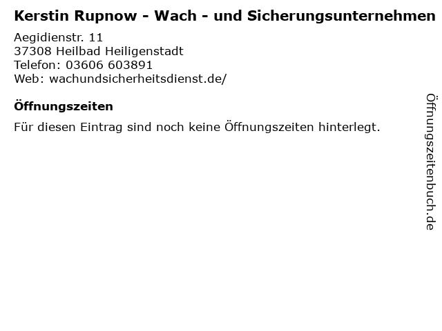 Kerstin Rupnow - Wach - und Sicherungsunternehmen in Heilbad Heiligenstadt: Adresse und Öffnungszeiten