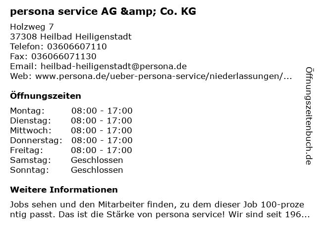 persona service AG & Co. KG in Heilbad Heiligenstadt: Adresse und Öffnungszeiten
