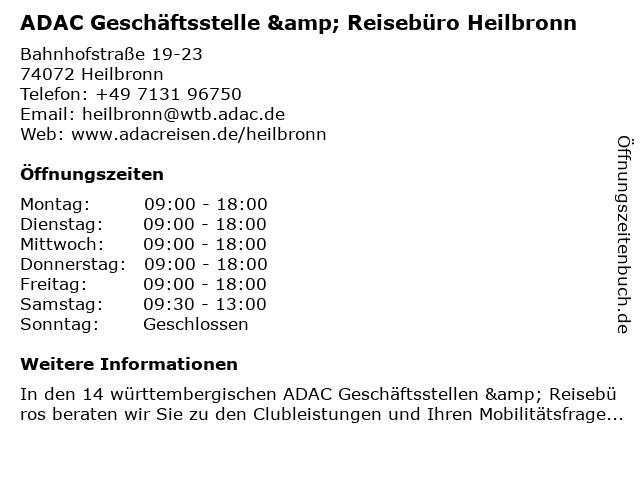 ADAC Geschäftsstelle & Reisebüro Heilbronn in Heilbronn: Adresse und Öffnungszeiten